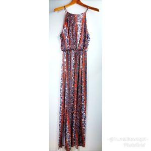 Lush floral maxi dress orange/blue/white L